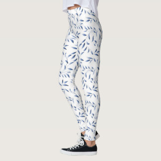 Delicate Blue and White Willow Leaf Pattern Leggings