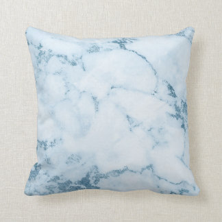 Delicate Blue Aquatic Frozen White Marble Vip Throw Pillow