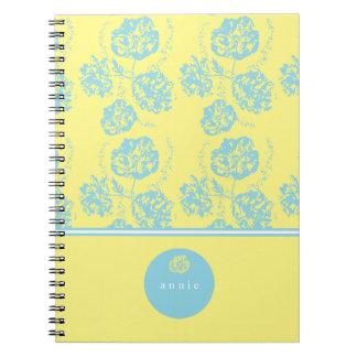 Delicate Blue, Vintage Floral Notebook