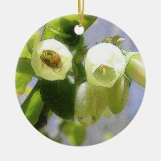 Delicate Blueberry Blossoms Round Ceramic Ornament