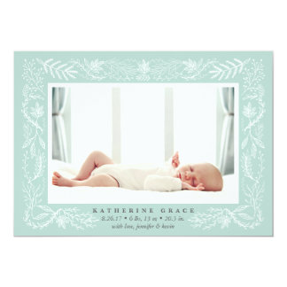 Delicate Branches Birth Announcement | Mint