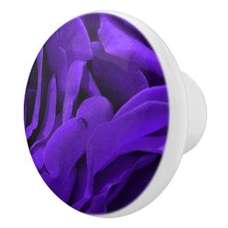 Delicate bright purple roses flower photo ceramic knob