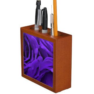 Delicate bright purple roses flower photo desk organizer