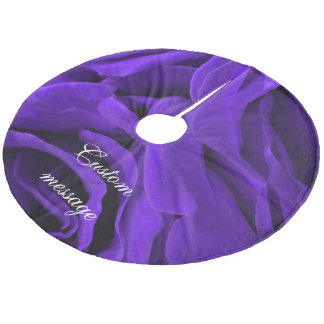 Delicate bright purple roses flower photo fleece tree skirt