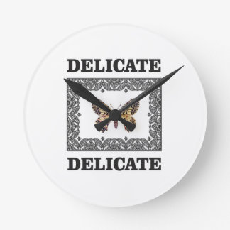 delicate butterfly art round clock