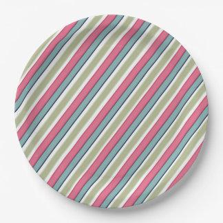 Delicate color stripes paper plate