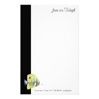 Delicate Copper-banded Butterfly Fish Custom Stationery