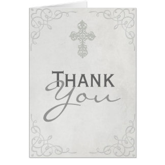 Delicate Cross Thank You Card
