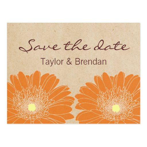 Delicate Daisies Save the Date Postcard, Orange Postcard
