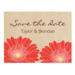 Delicate Daisies Save the Date Postcard, Red