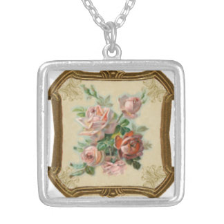 Delicate & delightful pastel bouquet silver plated necklace