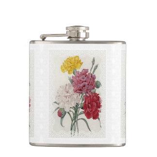 Delicate Dianthus Hip Flask