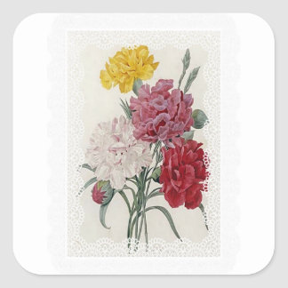 Delicate Dianthus Square Sticker