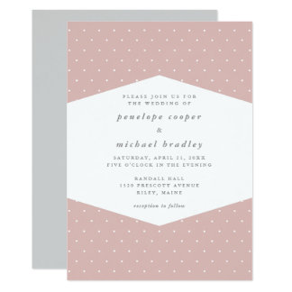 Delicate Dots Rose Color Wedding Card