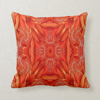 Delicate Feather Fractal - red orange Throw Pillow