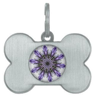 Delicate Feminine Purple Lacy Floral Kaleidoscope Pet ID Tag