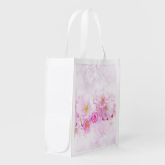 delicate floral 418 reusable grocery bag