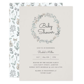 Delicate Floral Baby Shower Invitations