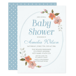 Delicate Floral Blue Baby Shower Invitation