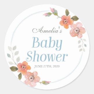 Delicate Floral Blue Baby Shower Round Sticker