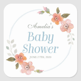 Delicate Floral Blue Baby Shower Square Sticker