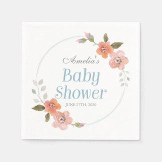 Delicate Floral Blue Boy Baby Shower Paper Napkin