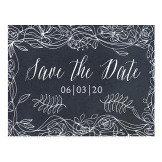 Delicate Floral Chalkboard Wedding Suite Postcard