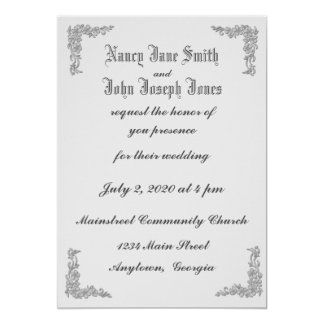 Delicate Floral Corners Wedding Invitations