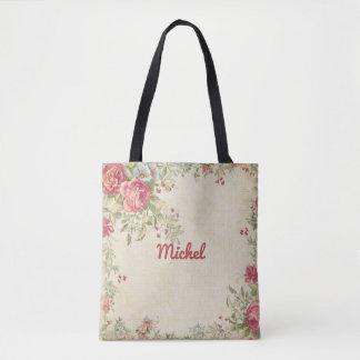 Delicate Floral Design Monogrammed Tote Bag