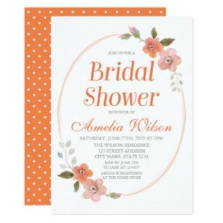 Delicate Floral Orange Bridal Shower Invitation