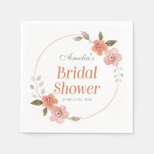 Delicate Floral Orange Bridal Shower Paper Napkins