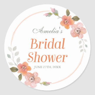 Delicate Floral Orange Bridal Shower Round Sticker