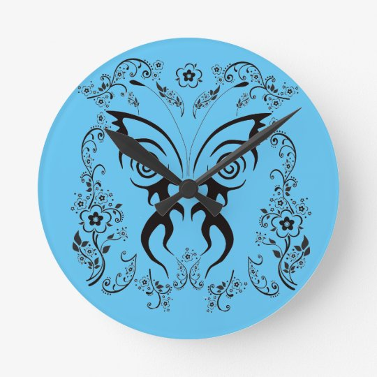 Delicate floral pattern butterfly wall clock