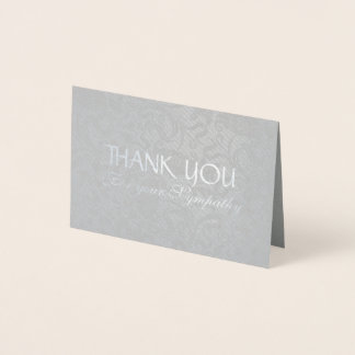 Delicate Floral Pattern Sympathy Thank You Foil C Foil Card