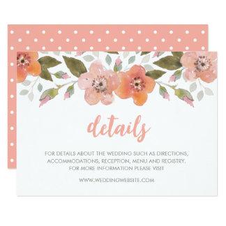 Delicate Floral Peach Wedding Details Card