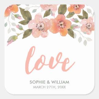 Delicate Floral Peach Wedding Love Square Sticker