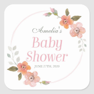 Delicate Floral Pink Baby Shower Square Sticker