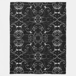 Delicate Floral Repeating Black & White Pattern Fleece Blanket