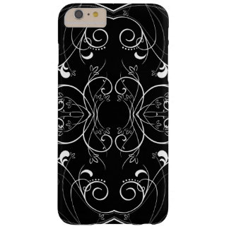 Delicate Floral Repeating Pattern in White on Blac Barely There iPhone 6 Plus Case