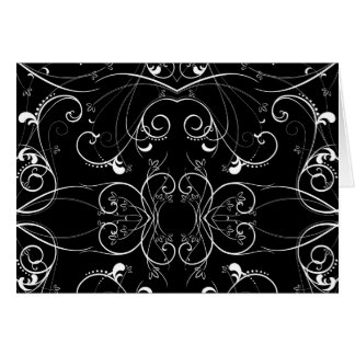 Delicate Floral Repeating Pattern in White on Blac Card