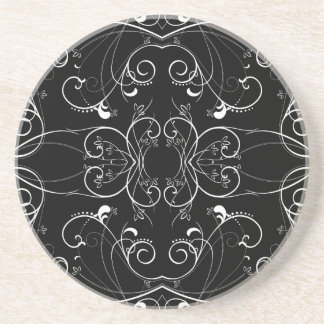 Delicate Floral Repeating Pattern in White on Blac Coaster