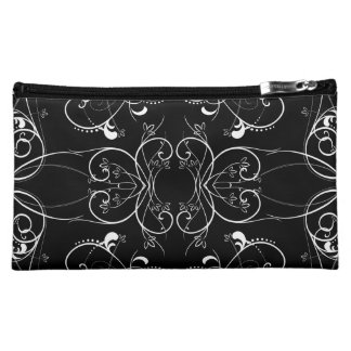 Delicate Floral Repeating Pattern in White on Blac Cosmetic Bag