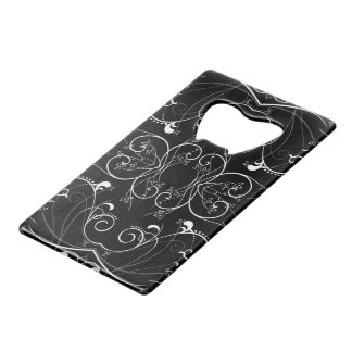 Delicate Floral Repeating Pattern in White on Blac Credit Card Bottle Opener