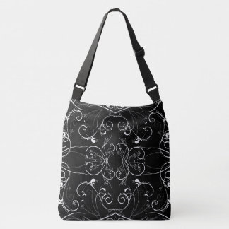 Delicate Floral Repeating Pattern in White on Blac Crossbody Bag
