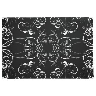 Delicate Floral Repeating Pattern in White on Blac Doormat