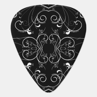 Delicate Floral Repeating Pattern in White on Blac Guitar Pick