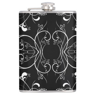 Delicate Floral Repeating Pattern in White on Blac Hip Flask