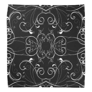 Delicate Floral Repeating Pattern in White on Blac Kerchiefs