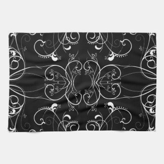 Delicate Floral Repeating Pattern in White on Blac Kitchen Towel