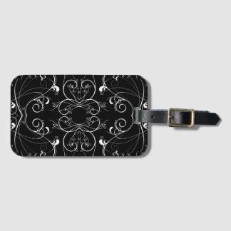 Delicate Floral Repeating Pattern in White on Blac Luggage Tag